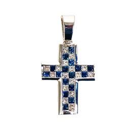 14K White Gold, 1.12 CTW Princess Cut Diamond, and Sapphire Cross Pendant