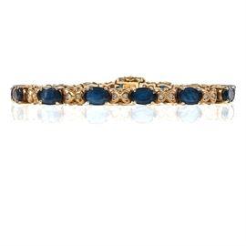 14K White Gold, 8.50 CTW Sapphire, and Diamond Tennis Bracelet