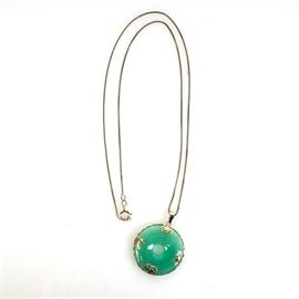 14K Yellow Gold and Jadeite Jade Bi-Disc Pendant with Sterling Silver Chain