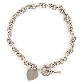 Tiffany & Co. Sterling Silver Heart Tag Toglgle Necklace