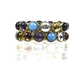 14K Yellow Gold and Double-Row Multi-Stone Band