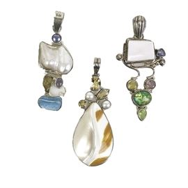 Collection of Sterling Silver and Multi-Stone Drop Pendants