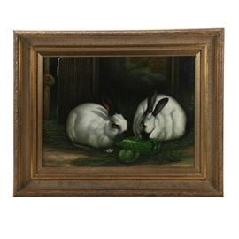Borofsy Oil Painting of Rabbits: An oil painting of rabbits by artist Borofsy. This painting depicts a pair of Himalayan rabbits eating greens against a background of weathered wood, bricks, and greenery. Executed in classical realist style, the painting has an overall dramatic and antique feel. Signed to the lower right. Framed in an ornate gold tone molded frame. Paint is peeling on frame in a few areas. To the verso, wired to hang.