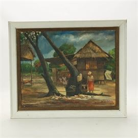 Arellano Oil Painting of Domestic Scene: An oil painting of a domestic scene, possibly the Philippines, by artist Arellano. This painting depicts a domestic scene in rural Southeast Asia. Cental to the composition is a figure wearing a hat engaged in some activity. In the background are two more figures as well as two dwellings. A large tree dominates the central space and divides the composition, giving it an angular structure. Signed in the lower right in red paint, first name is illegible, last name reads Arellano. Dated 1967. Framed in a layered frame of wood painted white with a dark stained liner. To the verso, gallery labels from Manila. Wired to hang.