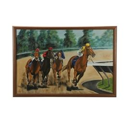 Lee Acrylic Painting of Racehorses: An original acrylic painting of racehorses by artist Janelle M. Lee. This painting depicts four racehorses and jockeys mid race. Painted in classical realism, the brilliant uniforms of the jockeys contrast nicely with muted tones of the horses, track, and distant forest. Signed and dated to the lower right ('90). Framed in a brown stained wood frame. To the verso, wired to hang.