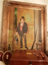 LARGE OIL PAINTING ON CANVAS OF CIVIL WAR ERA BOY