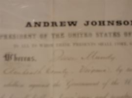 CLOSEUP OF PARDON - BY PRESIDENT ANDREW JOHNSON FOR HAMES MUNDY, RESIDENT OF AMHERST COUNTY