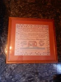 19TH CENTURY SAMPLER DONE BY MARTHA SOUTHWICK OF DUBLIN VIRGINIA
