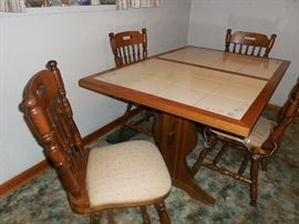 Has been covered by plastic table cloth.  Very nice set.
