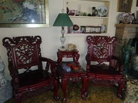 Carved Chinese chairs and end table