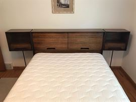 RARE Mid Century Modern Milo Baughman for Drexel Perspective line headboard with attached swinging nightstands