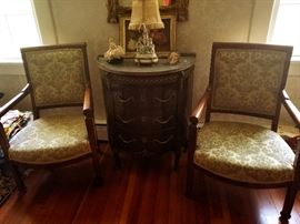 Beautiful carved sidechairs and antique Chest