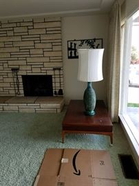 Gorgeous Lane Coffee Table and Mid Century Turquoise lamp