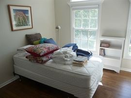 Twin Bed, Linens and Bookcase