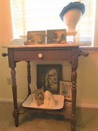 commode walnut and marble