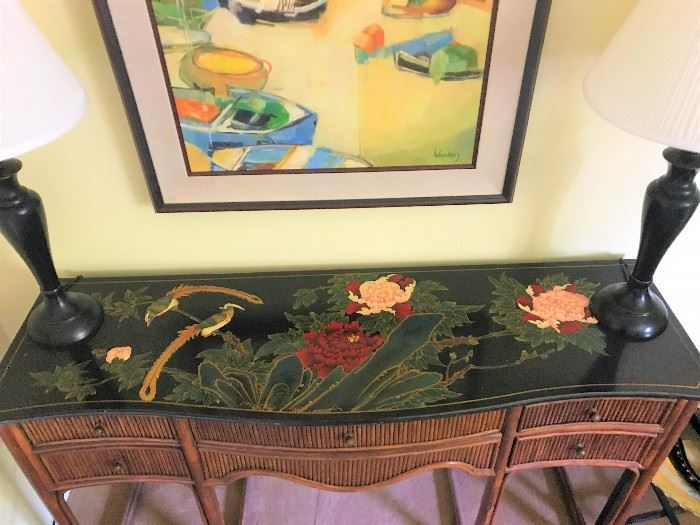 hand painted and lacquered top of bamboo and rattan console/entry/buffet. peonies, bird motif, great color and pop