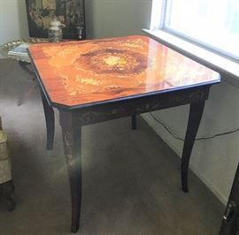 Italian marquetry game table. top removes, craps, roulette, cards, pull out sides. Super fine.