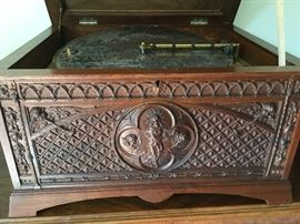 Regina Carved Walnut Music Box with 28 discs
