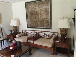 Mid-Century Chinese Sofa, side tables & coffee table