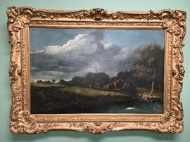 """1879 oil painting on Masonite, period frame, notation on back """"Ivy Lodge, Farnham, Surrey, England."""" As of today, we have been unable to decipher signature."""