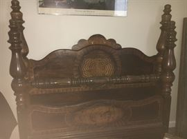 Vintage full-size walnut bed with intricate inlay design-/includes rails and slats.