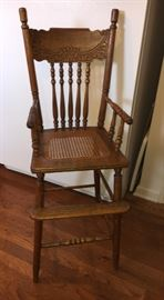 Antique oak youth chair.