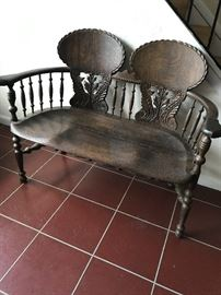 Victorian American carved tiger oak settee