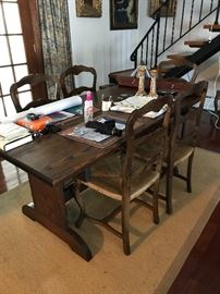 Tresel table, six rush seat, ladder back, chairs