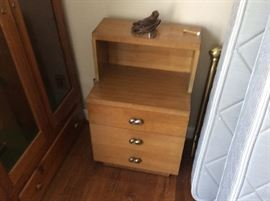 Awesome pair of  setback MCM night stands, has a matching dresser, bed and mirror