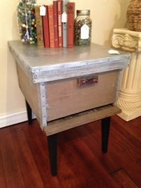 End table fashioned from bee box, removable lid