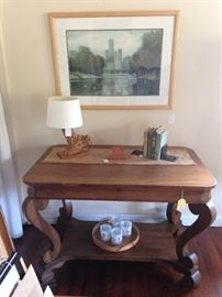 Library table with hidden drawers (Excluded from discount) Chicago Art, Cactus lamp, home decor