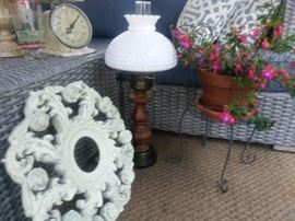 Ornate Ceiling Medallion, Milk Glass Lamp, Baby Scale, Planter & Much More...