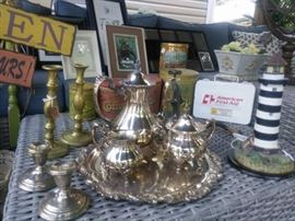 Vintage Silver Tea Set, Brass & Silver Candlesticks, Frames, Vintage Items & More