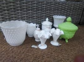 Fenton, Hobnail Milk Glass assortment. (More not pictured)
