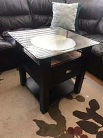 Raymour & Flanigan Glass Top Side Table -
