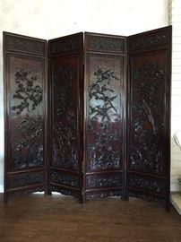 Fourpanel Antique Rosewood Screen