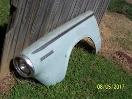 1964 Dodge Dart- 270 style- left front fender with headlight assembly- excellent condition- Opposite right side fender is also offered but lacks chrome headlight frame