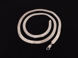 "Sterling Silver 24"" Herring Bone Necklace"