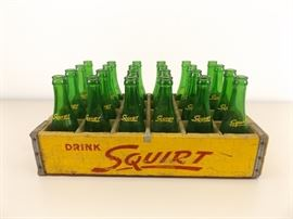 Vintage Wood Crate of 7 oz Squirt Bottles