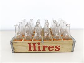 Vintage Wood Crate of 8 oz Hires Bottles