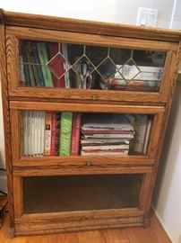 Oak barrister/ lawyers bookcase with stained glass