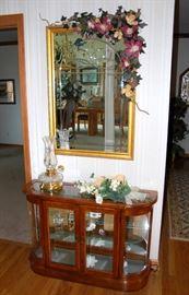 Entry Way Curio & Large Mirror