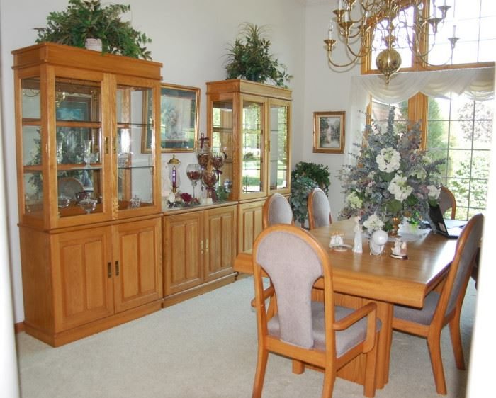 Incredible Oak Dining Room Set With Hutches Curio CabinetsOak Sets China Cabinet Pueblosinfronteras Us