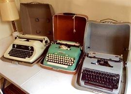 Vintage manual and electric typewriters. Olympia, Smith Corona, Royal, Remington.