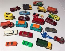 Collection of small metal cars.  Some Matchbox, some Hubley.  1970 Volkswagen camper Matchbox, England.