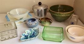 Many collectible kitchenware pieces.