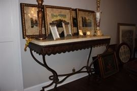 Ethan Allen framed prints, marble topped wrought iron entry table