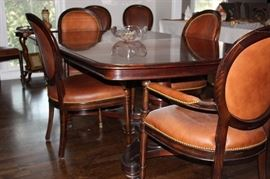 Double pedestal dining table and 8 chairs (Baker)