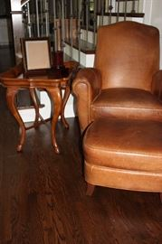 Ethan Allen leather recliner with ottoman