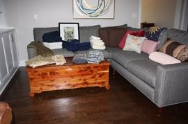 Cedar chest and linens (sofa is not for sale)